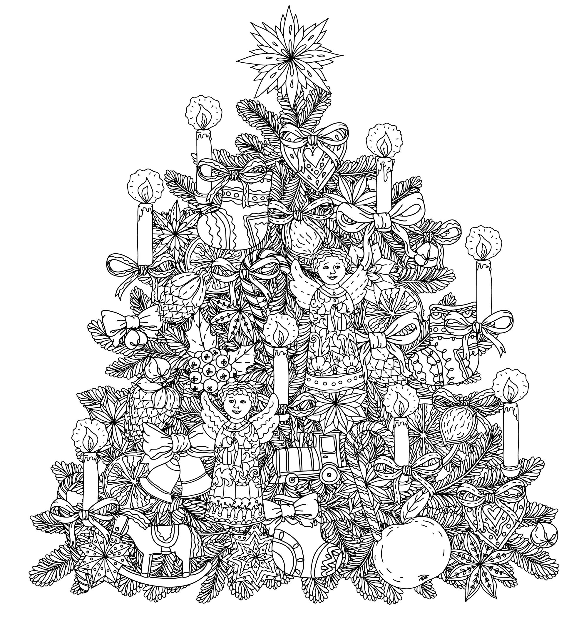 Christmas Tree With Ornaments - Christmas Adult Coloring Pages - Free Printable Christmas Tree Ornaments Coloring Pages