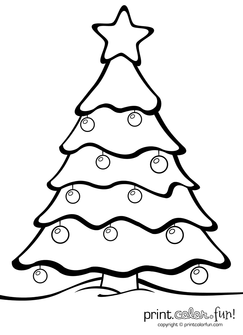 Christmas Tree With Ornaments | Print. Color. Fun! Free Printables - Free Printable Christmas Ornaments Stencils