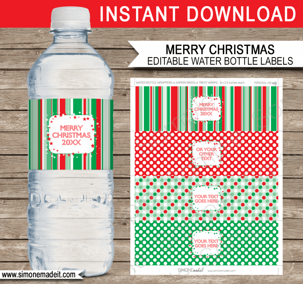 Christmas Water Bottle Labels Free Printable | Printable Christmas - Christmas Water Bottle Labels Free Printable