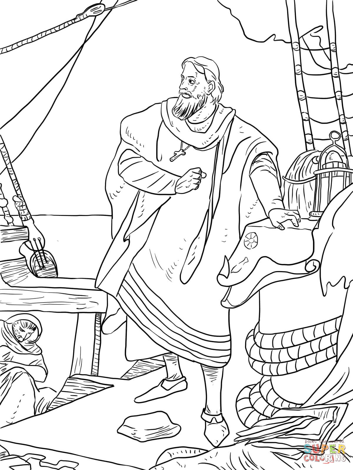 Christopher Columbus On The Santa Maria Coloring Page   Free - Free Printable Christopher Columbus Coloring Pages