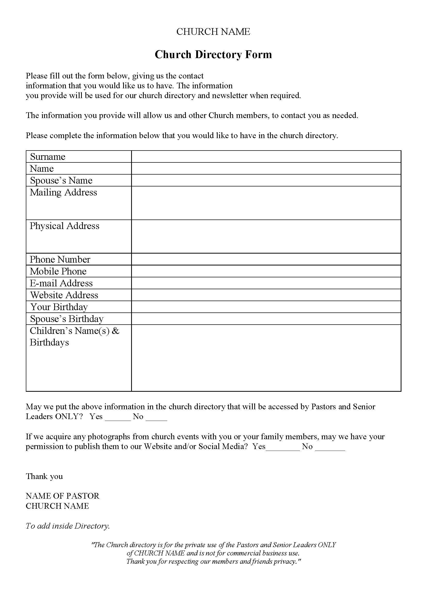 Church Directory | Church Directory Ideas | Pinterest | Church - Free Printable Church Directory Template