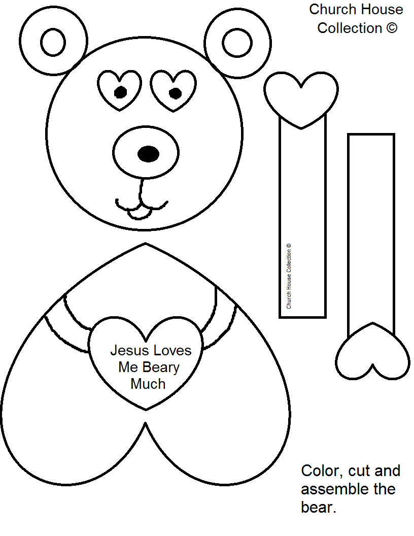 """Church House Collection Blog: """"jesus Loves Me Beary Much - Free Printable Bible Crafts For Preschoolers"""