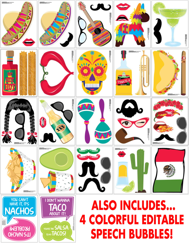 Cinco De Mayo Photo Booth Props - Fiesta, Mexican Holiday, Includes4 - Free Printable Cinco De Mayo Photo Booth Props