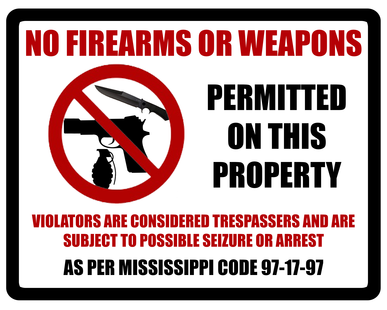 Citizen's Firearms Class - Free Printable No Guns Allowed Sign