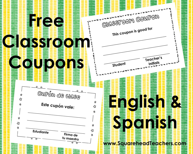 Classroom Coupons – English And Spanish | Squarehead Teachers - Free Printable Homework Pass Coupon