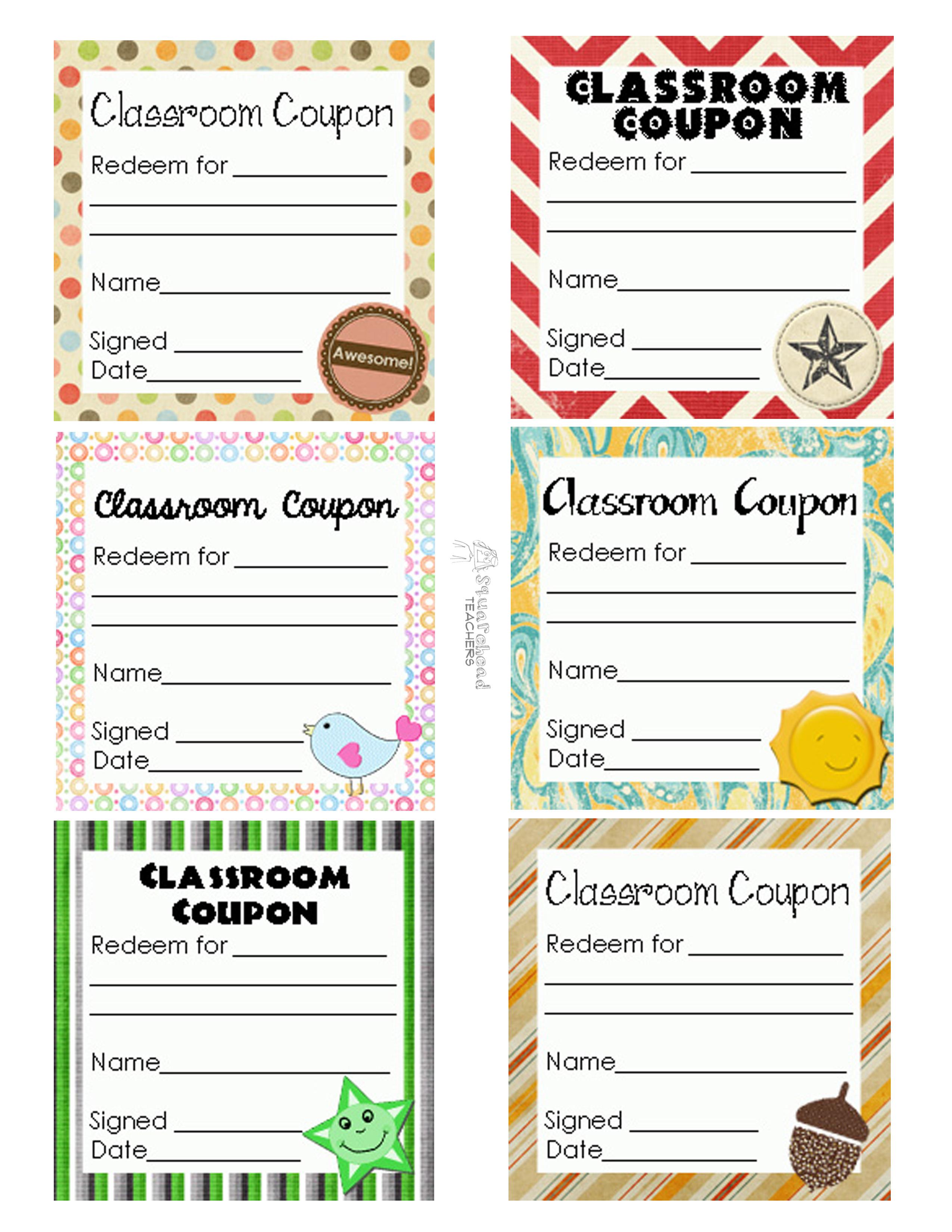 Classroom Coupons Updated | Squarehead Teachers - Free Printable Homework Pass Coupon