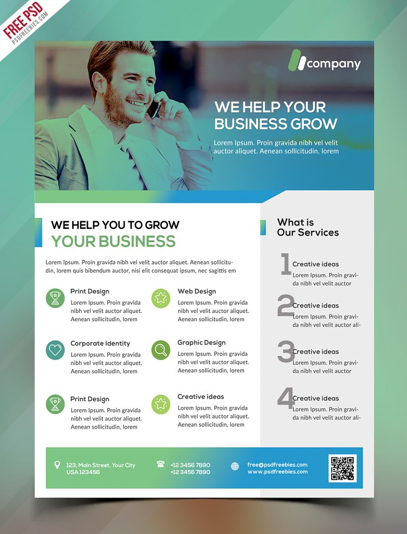 Clean Business Flyer Template Free Psd   Psd Print Template - Business Flyer Templates Free Printable