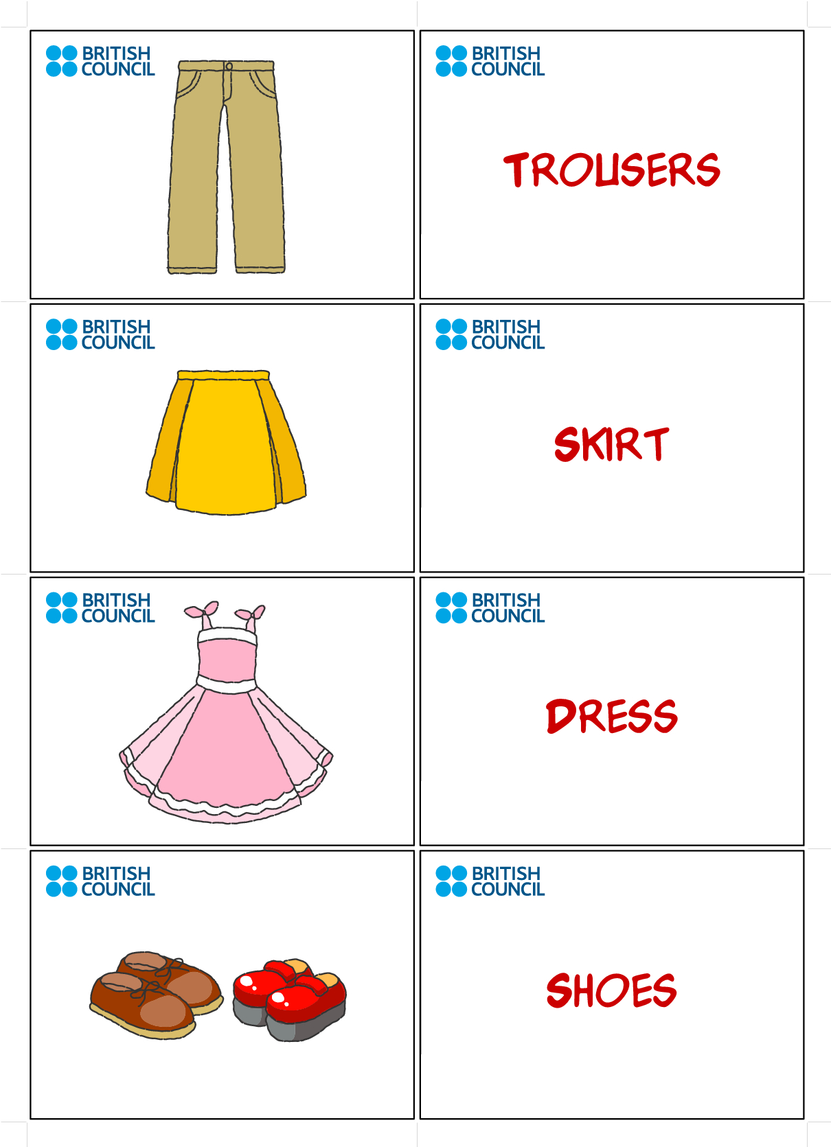 Clothes Flash Cards For Kids Printables | Flash Cards | Flashcards - Free Printable Flashcards For Toddlers