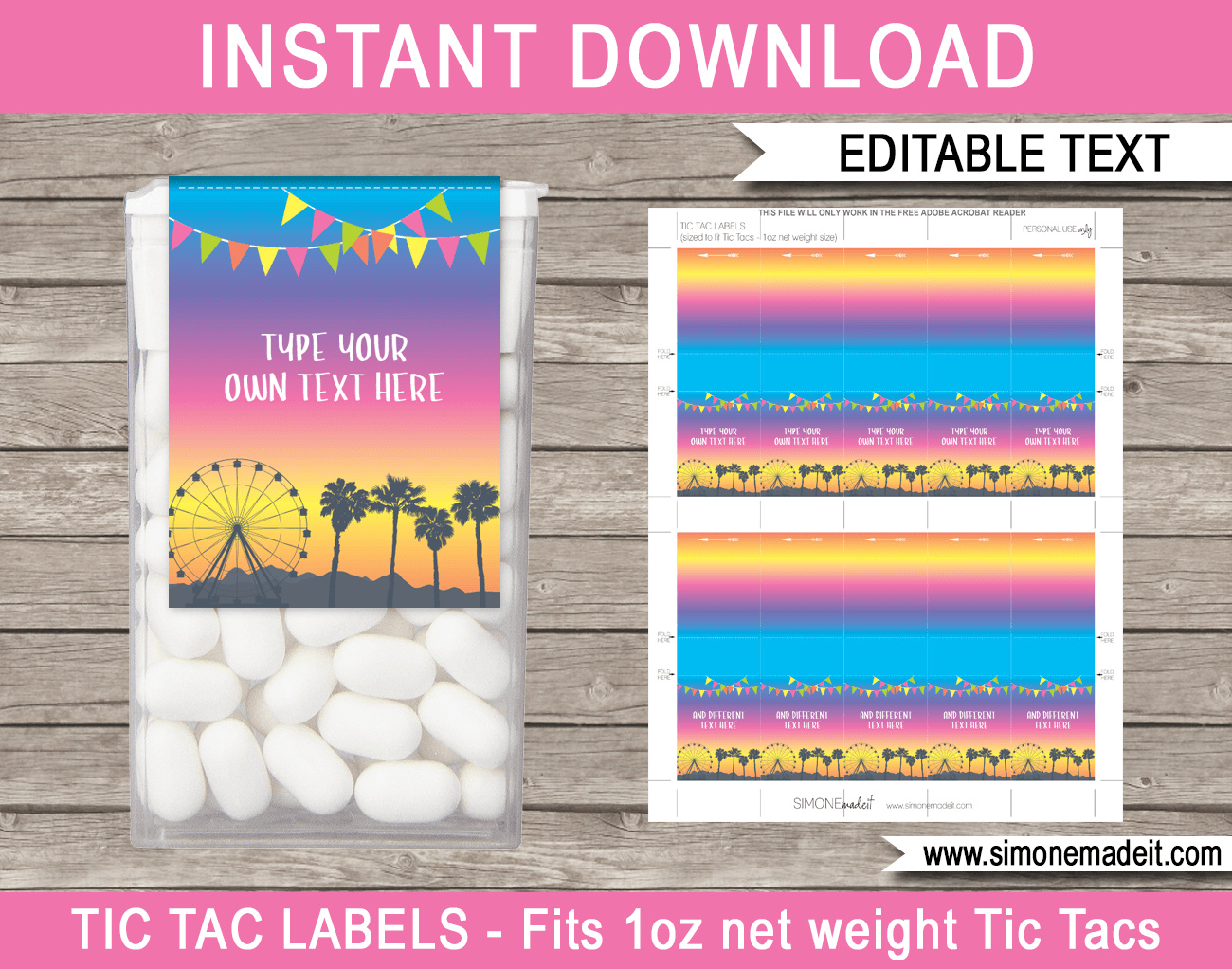 Coachella Party Tic Tac Labels | Birthday Party Favors | Festival Theme - Free Printable Tic Tac Labels