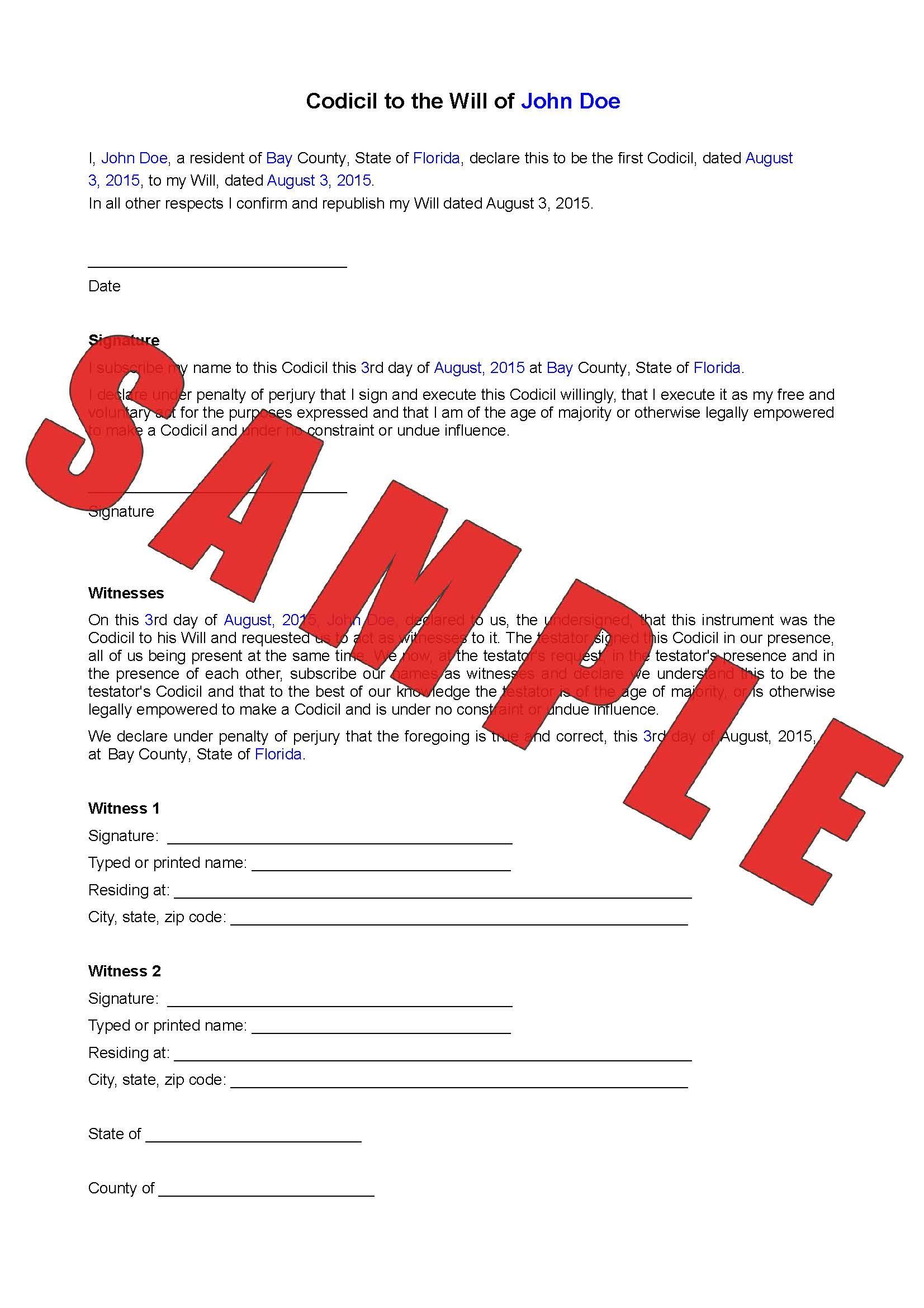 Codicil For Will Custom Online Legal Form - Free Printable Codicil Form