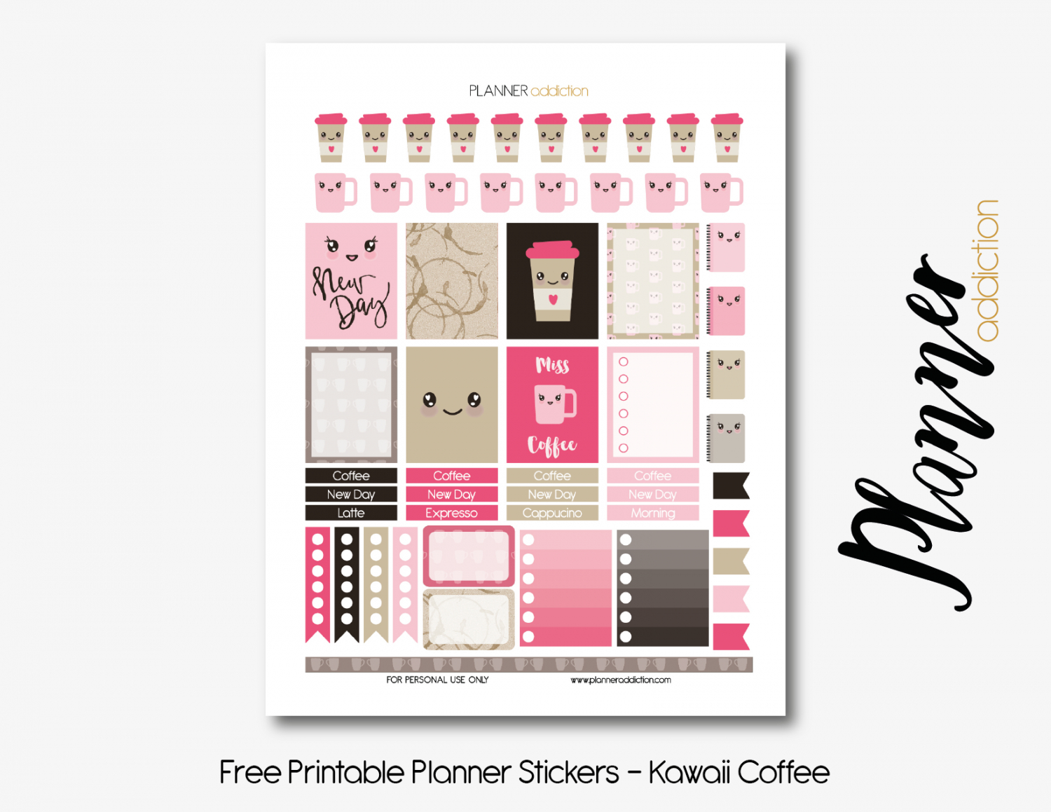 Coffee Kawaii – Planner Addiction - Free Printable Kawaii Stickers