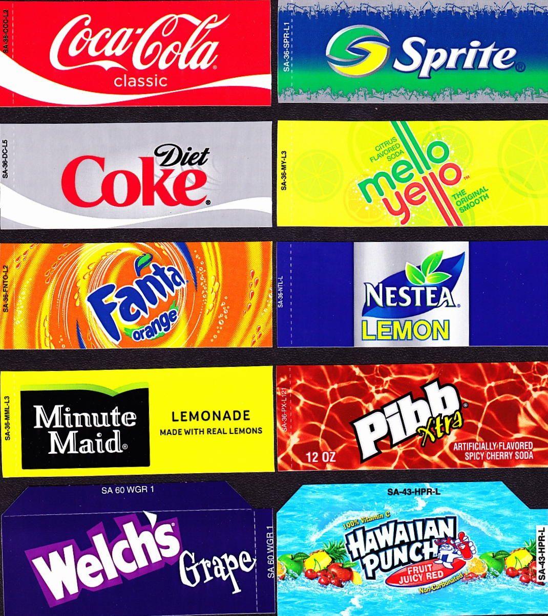 Coke Machine Labels   10 Coke Mixed Set Small Flavor Labels Soda - Free Printable Soda Vending Machine Labels