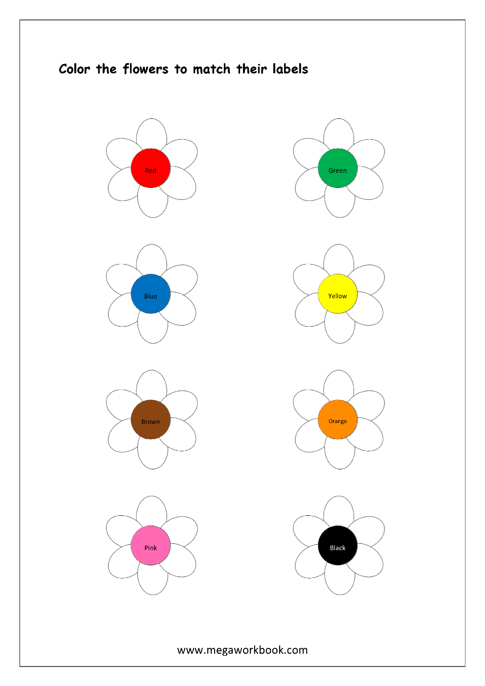 Color Recognition Worksheet - Color The Objects Using Matching Color - Color Recognition Worksheets Free Printable