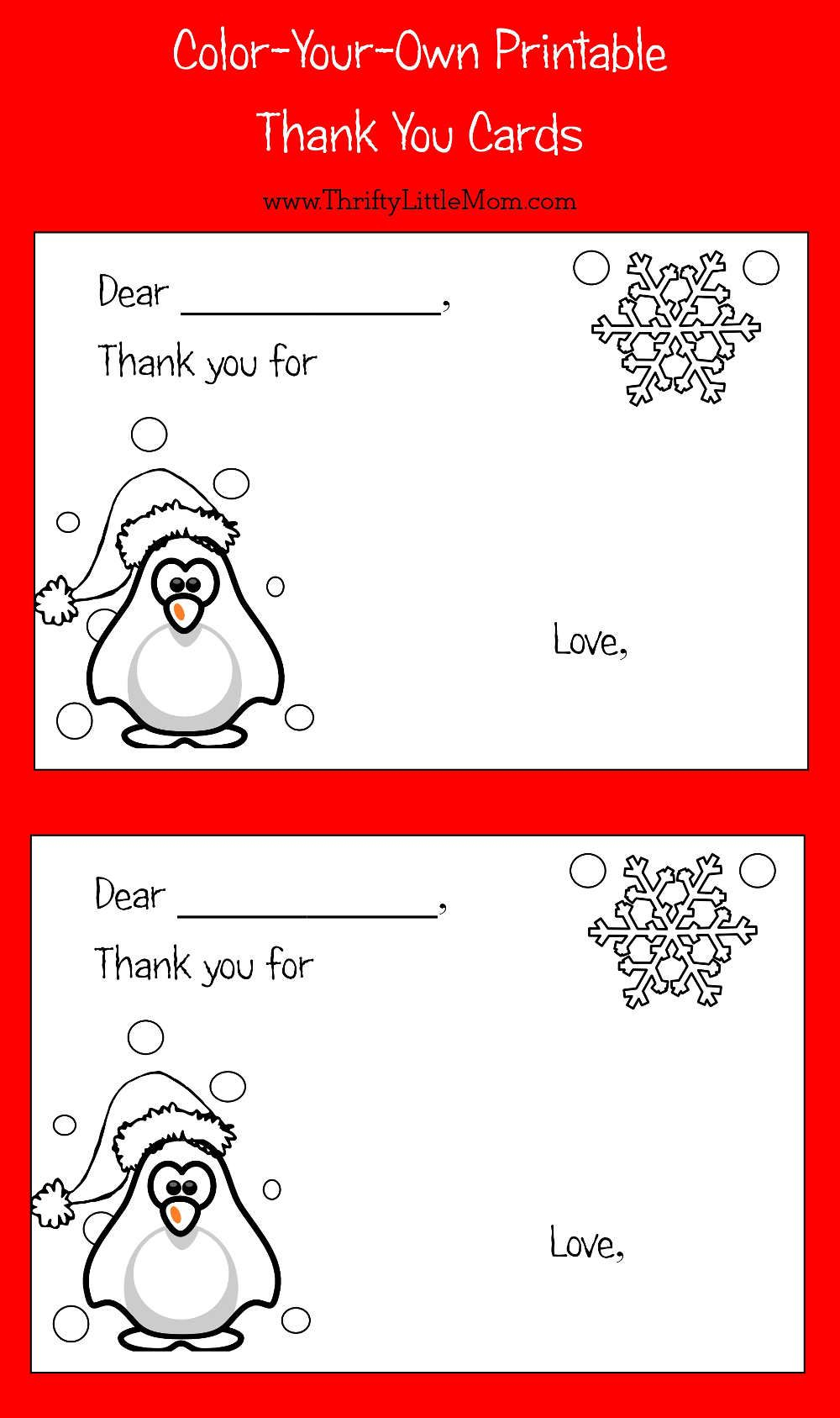 Color-Your-Own Printable Thank You Cards For Kids   Thrifty Thursday - Free Printable Color Your Own Cards