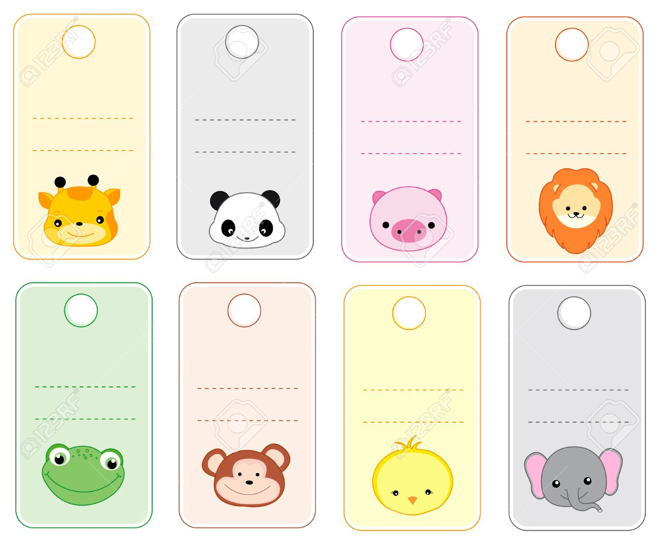 Colorful Printable Gift Tags / Name Tags With Cute Animal Faces - Free Printable Gift Name Tags