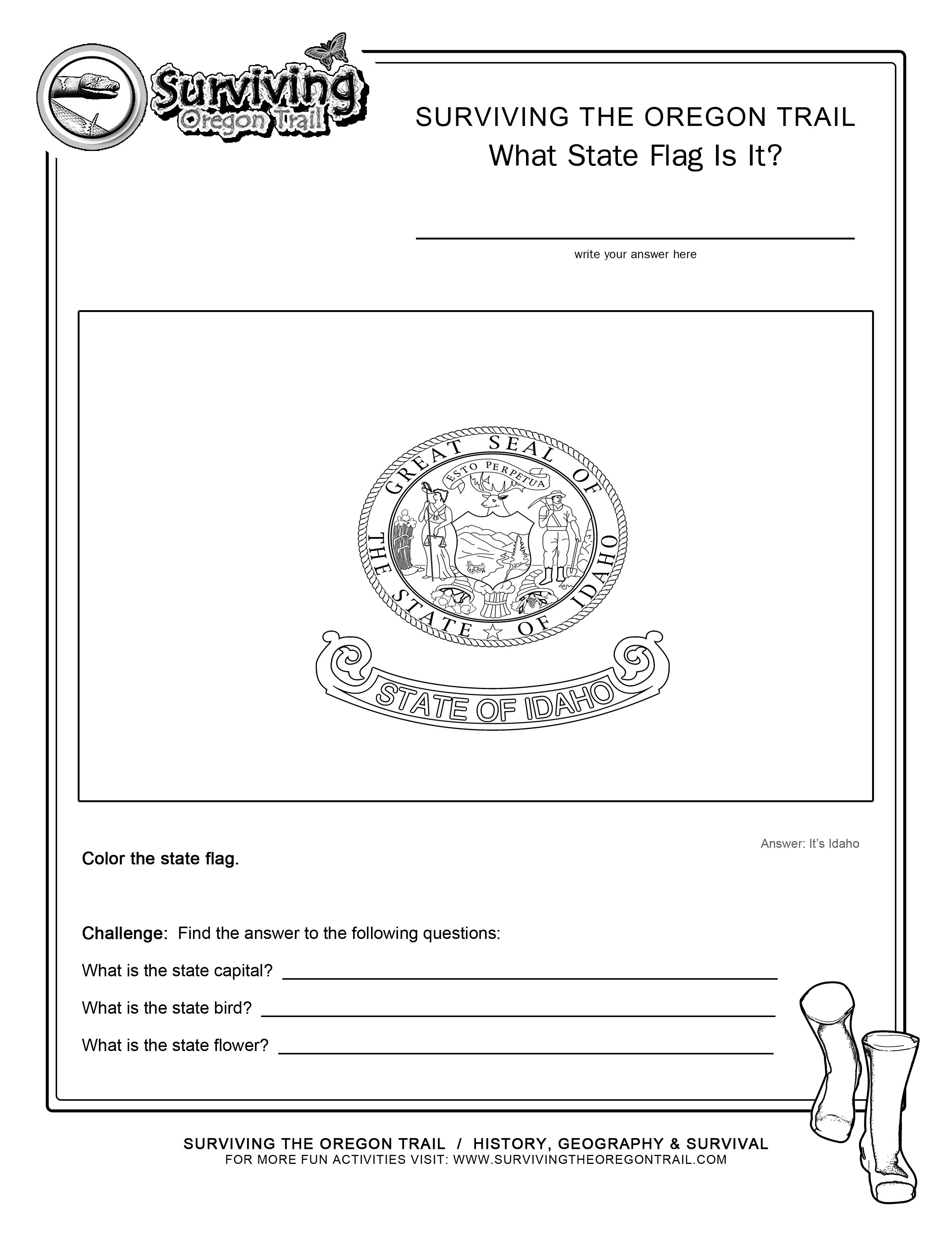 Coloring Page State Flag Idaho Printable Worksheet – Surviving The - Free Printable Arkansas History Worksheets