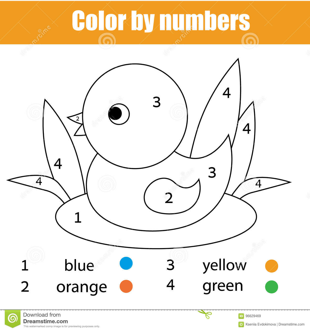 Coloring Page With Duck Bird. Colornumbers Educational Children - Toddler Learning Activities Printable Free