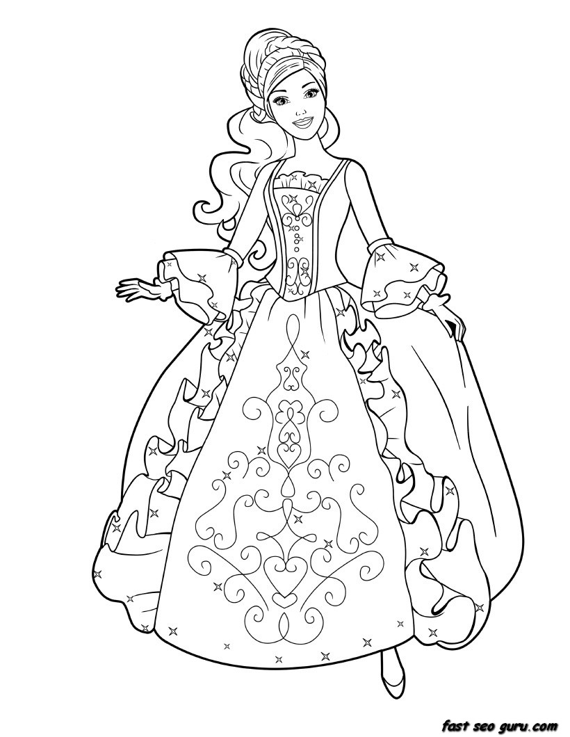 Coloring Pages: Barbie Coloring Book Pages. Free Barbie Coloring - Free Printable Barbie Coloring Pages