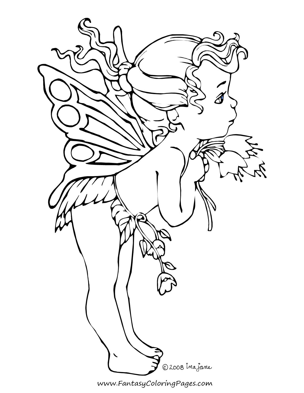 Coloring Pages Fairies Realistic Fairy For Adults Free Books 1275 - Free Printable Coloring Pages Fairies Adults