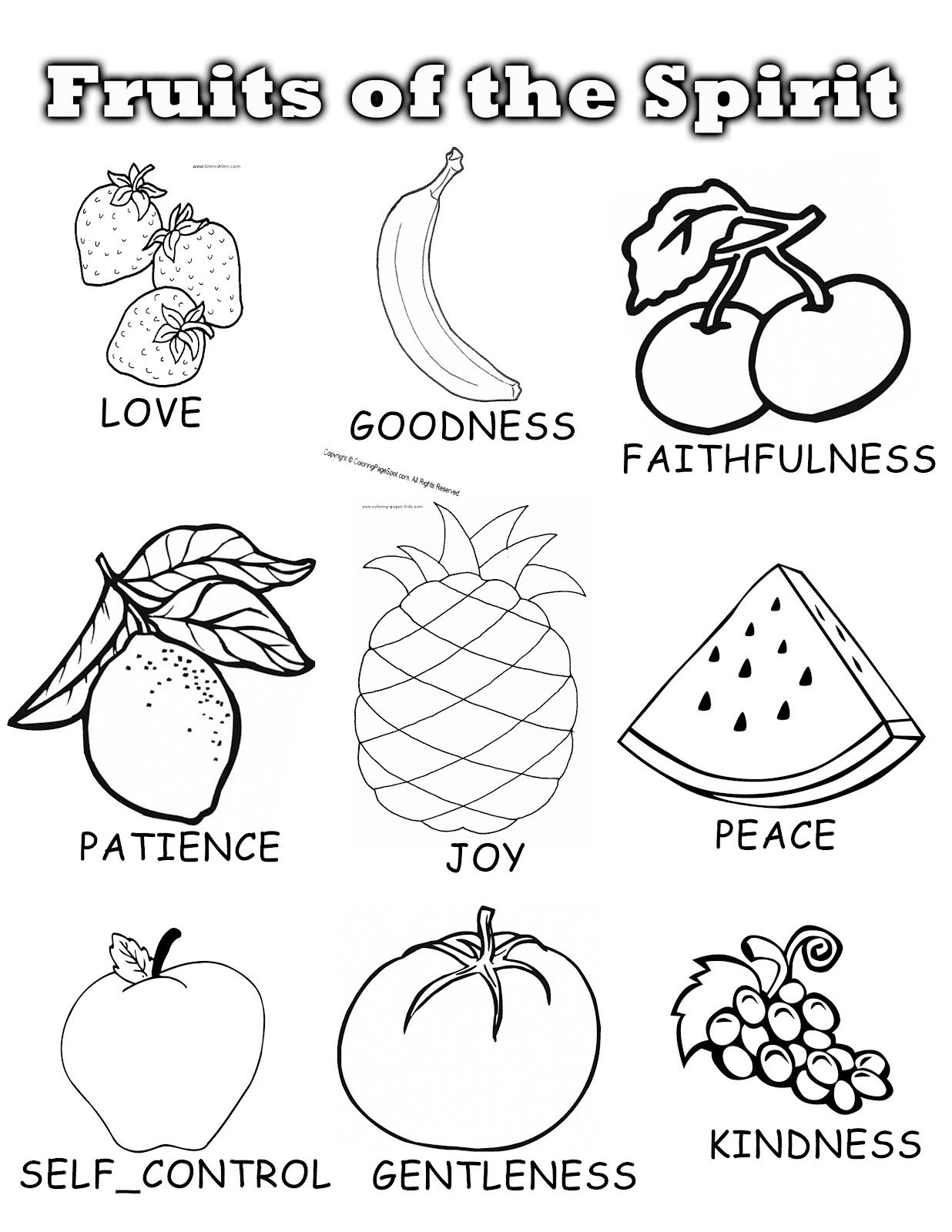 Coloring Pages : Fruit Ofe Spirit Coloring Book Printable Pages For - Fruit Of The Spirit Free Printable