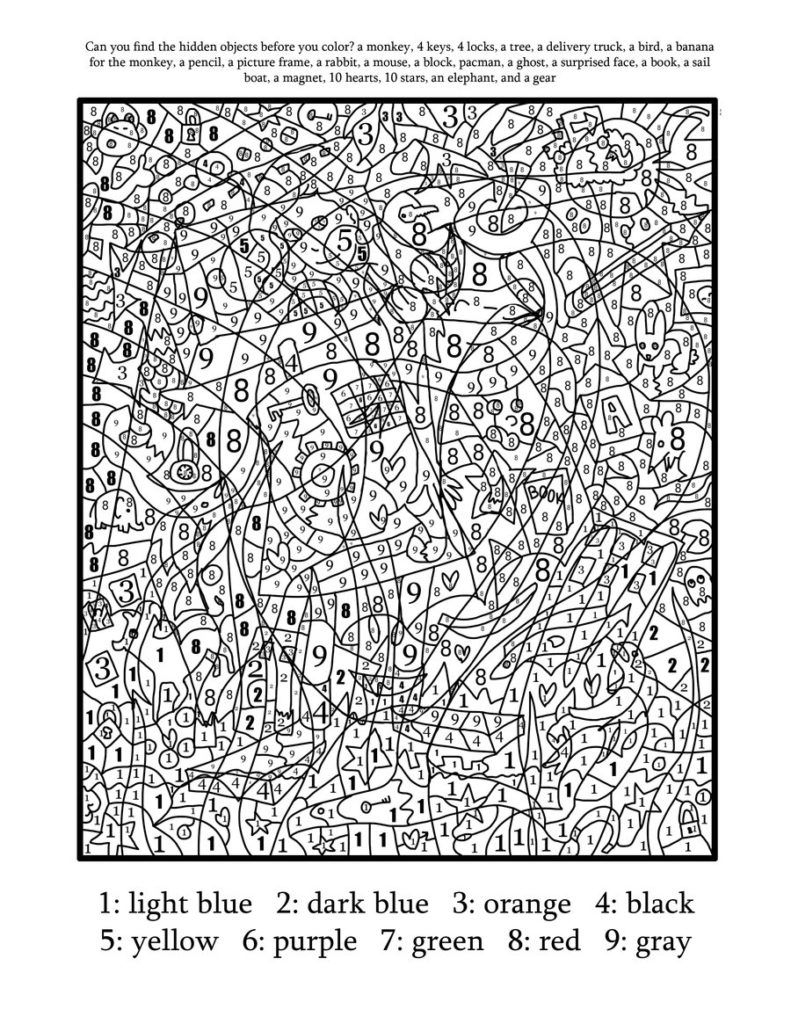 Coloring Pages: Printable Colornumber For Adults Free Coloring - Free Printable Color By Number For Adults