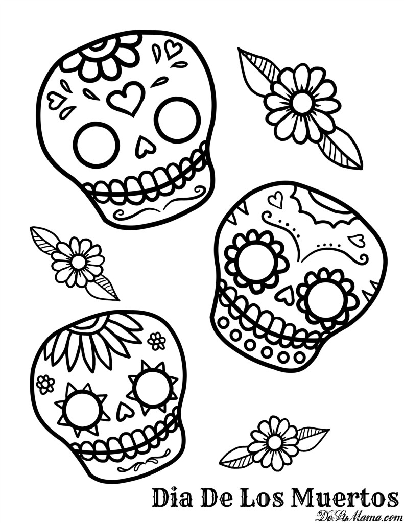 Coloring Pages: Stunning Free Day Of The Dead Coloring Pages Image - Free Printable Day Of The Dead Worksheets
