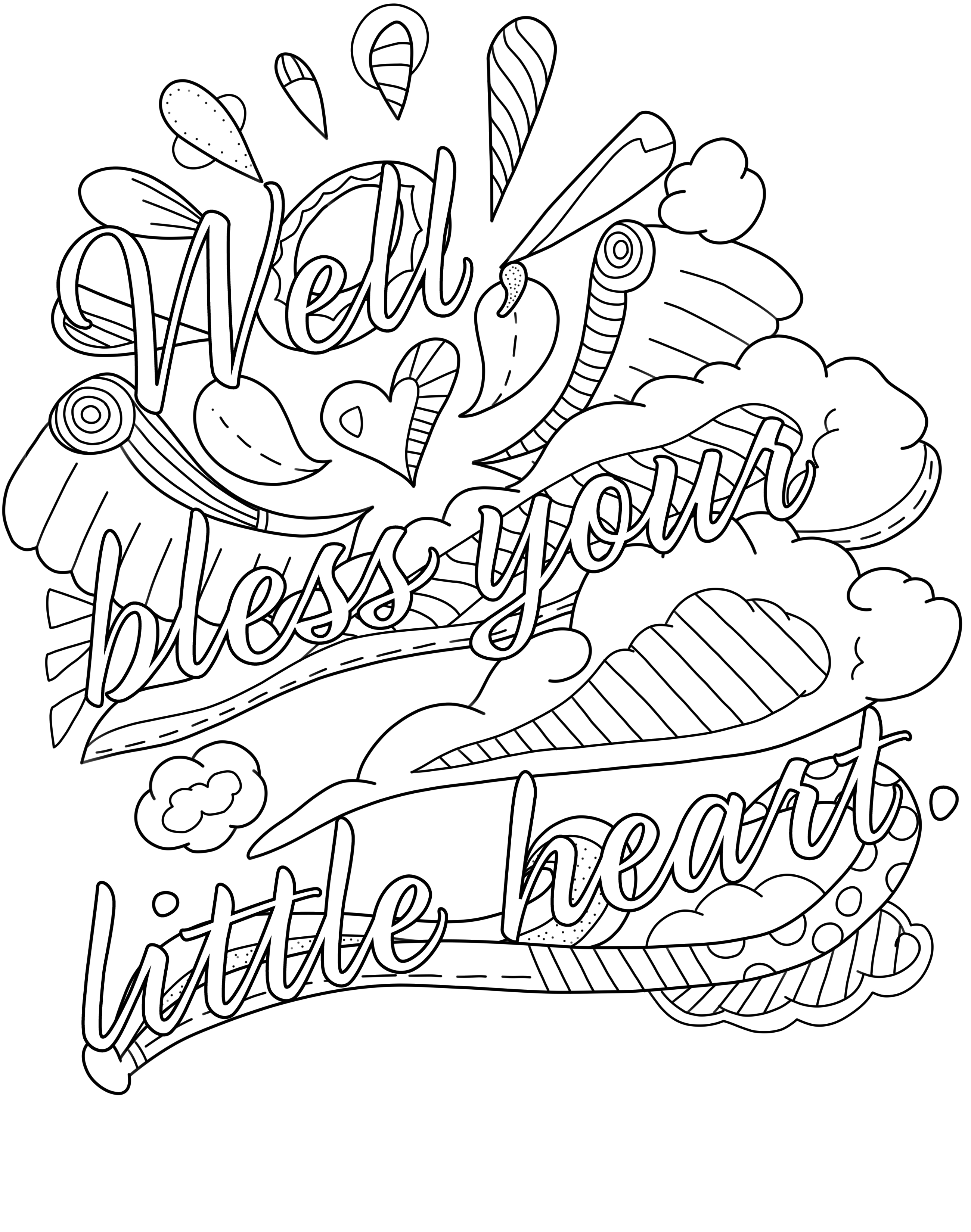Coloring Pages : Well Bless Your Little Heart Free Swear Word - Swear Word Coloring Pages Printable Free