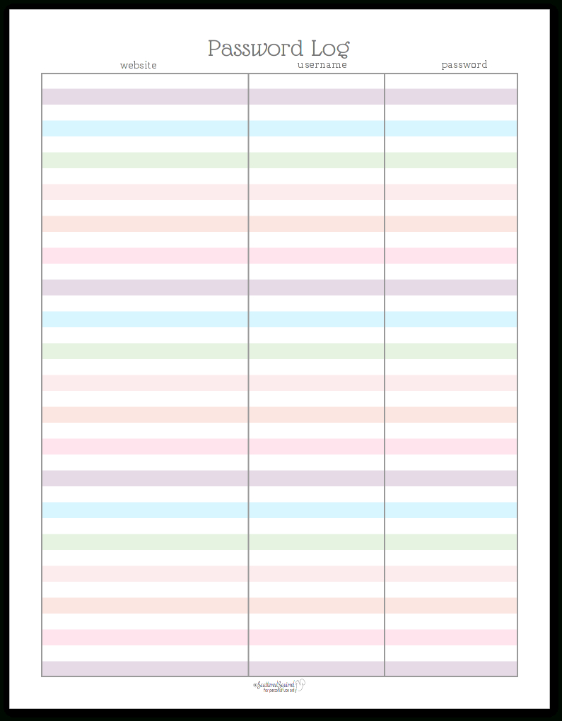 Colourful Address Book And Password Log Printables | Home & Family - Free Printable Password Log