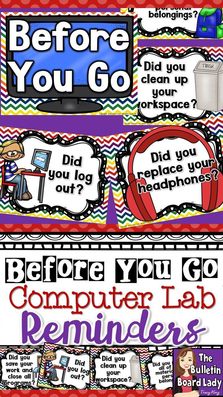 Computer Lab - Before You Go Posters | Bulletin Boards -Computers - Free Printable Computer Lab Posters