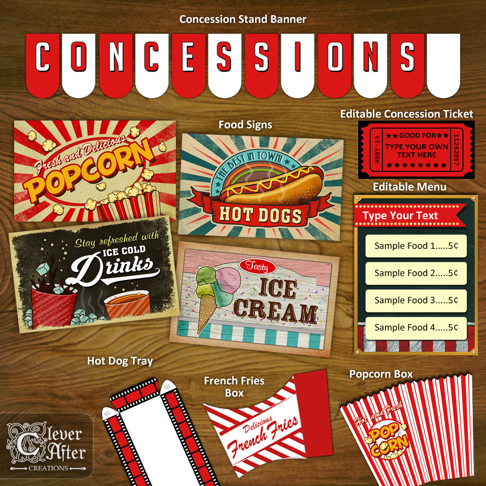 Concession Stand Printables Concessions Party Decorations | Etsy - Free Concessions Printable