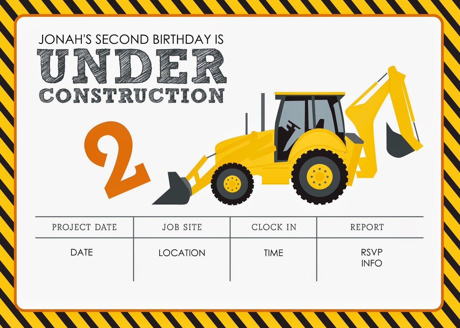 Construction Themed Birthday Party Free Printables | Jacqueline - Free Printable Construction Birthday Invitation Templates