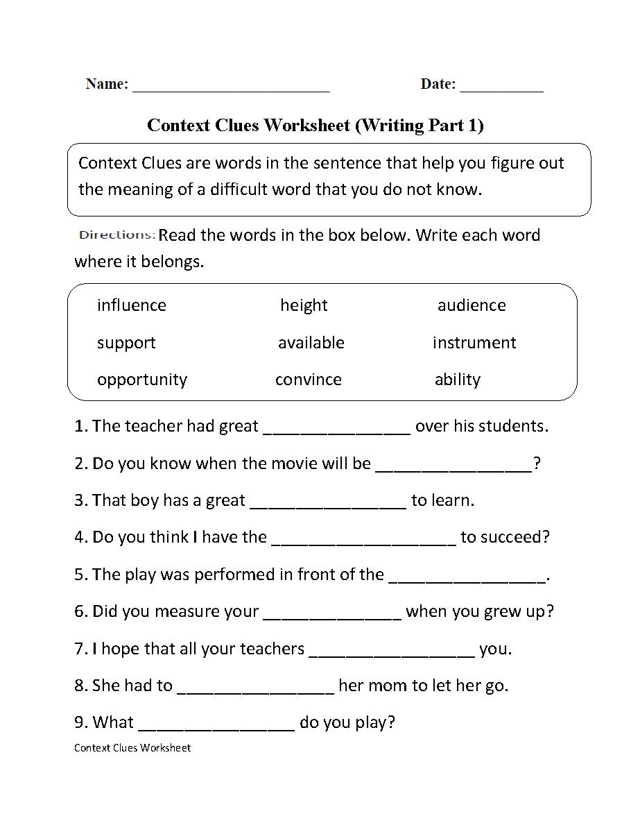 Context Clues Worksheet Writing Part 1 Intermediate--Free Worksheets - Free Printable 5Th Grade Context Clues Worksheets