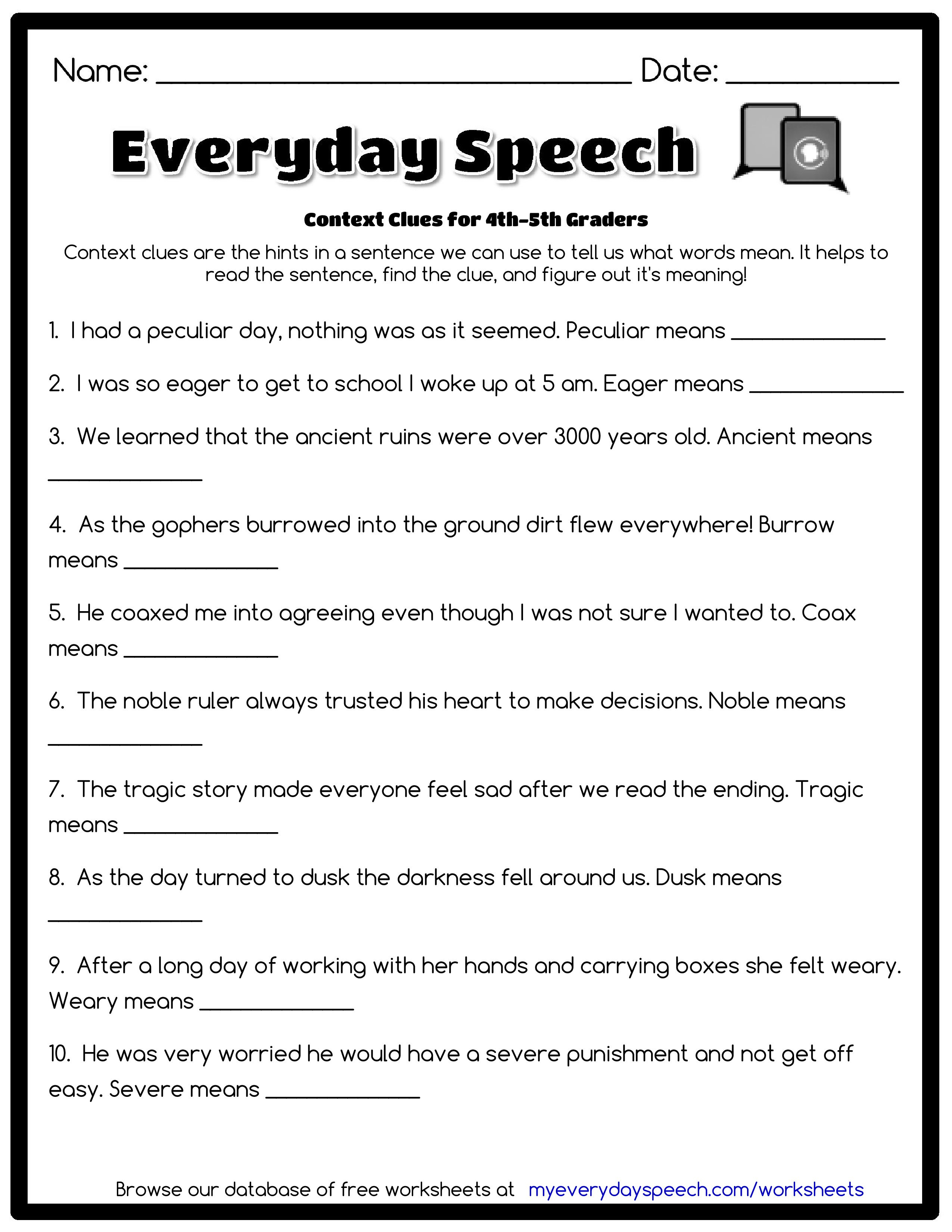 Context Clues Worksheets 5Th Grade To Free - Math Worksheet For Kids - Free Printable 5Th Grade Context Clues Worksheets