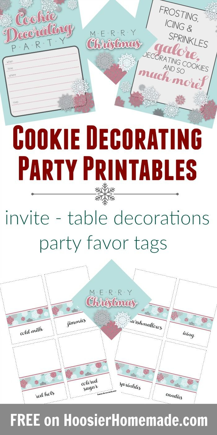 Cookie Decorating Party Printables - Invitation, Table Decorations - Free Printable Cookie Decorating Invitations