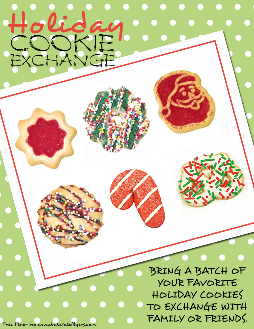 Cookie Exchange Invitations | Bake Sale Flyers – Free Flyer Designs - Free Christmas Cookie Exchange Printable Invitation