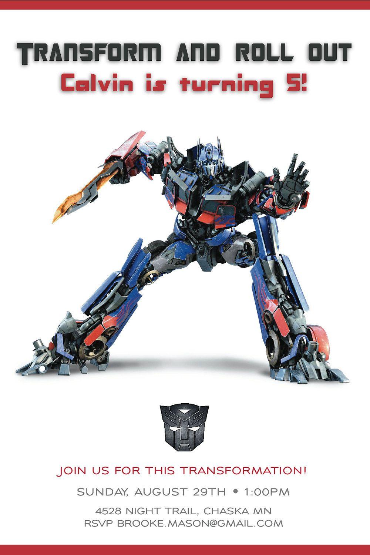 Cool Transformer Birthday Invitations   Bagvania Invitation - Transformers Party Invitations Free Printable
