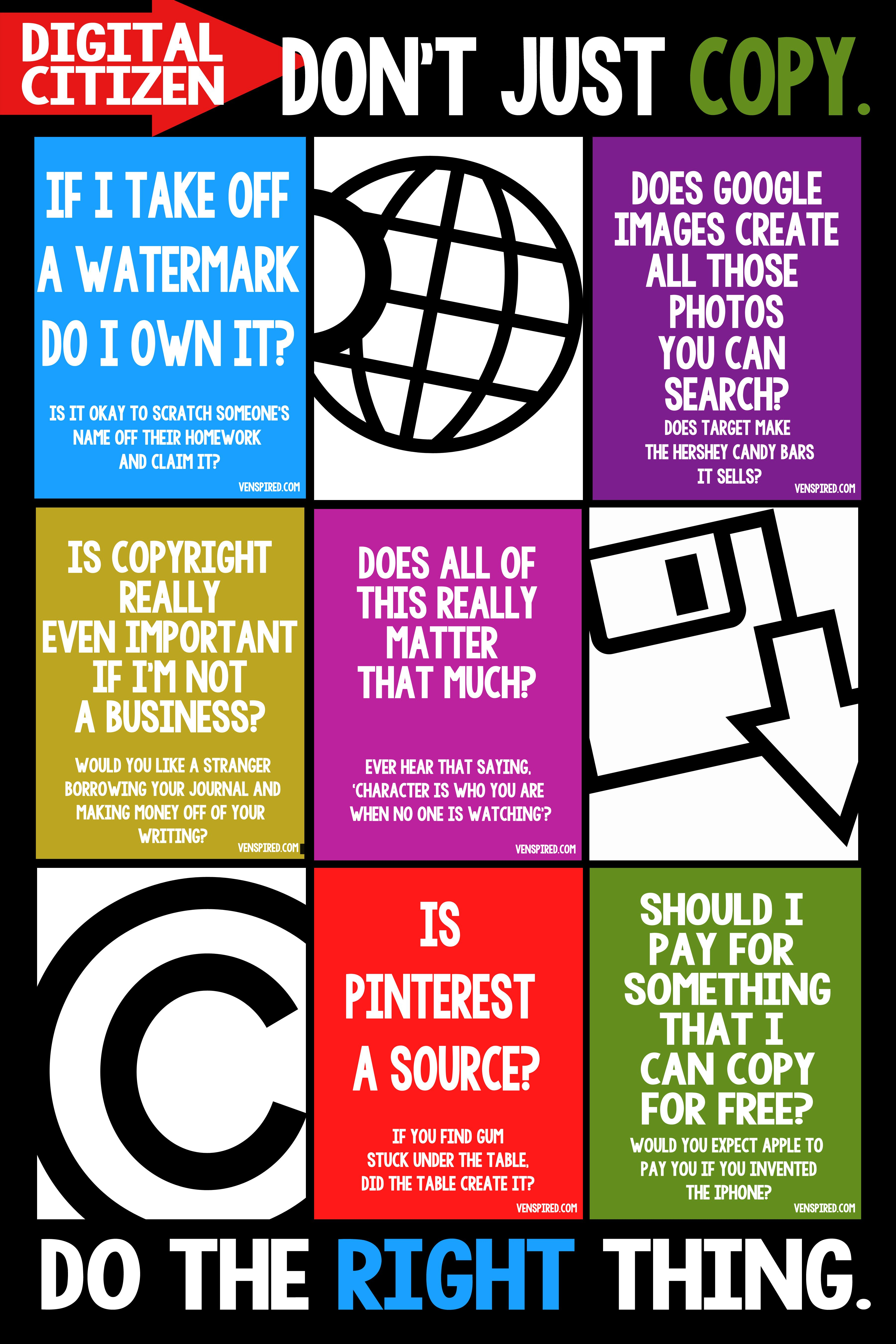 Copyright Info For Kids Free Printable!   Digital Citizenship - Literacy Posters Free Printable