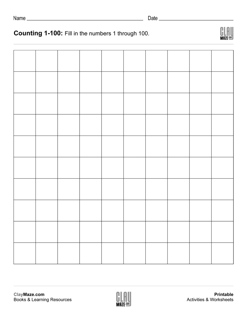 Counting Chart 1 To 100 (Blank) | Free Printable Children's - Free Printable Counting Worksheets
