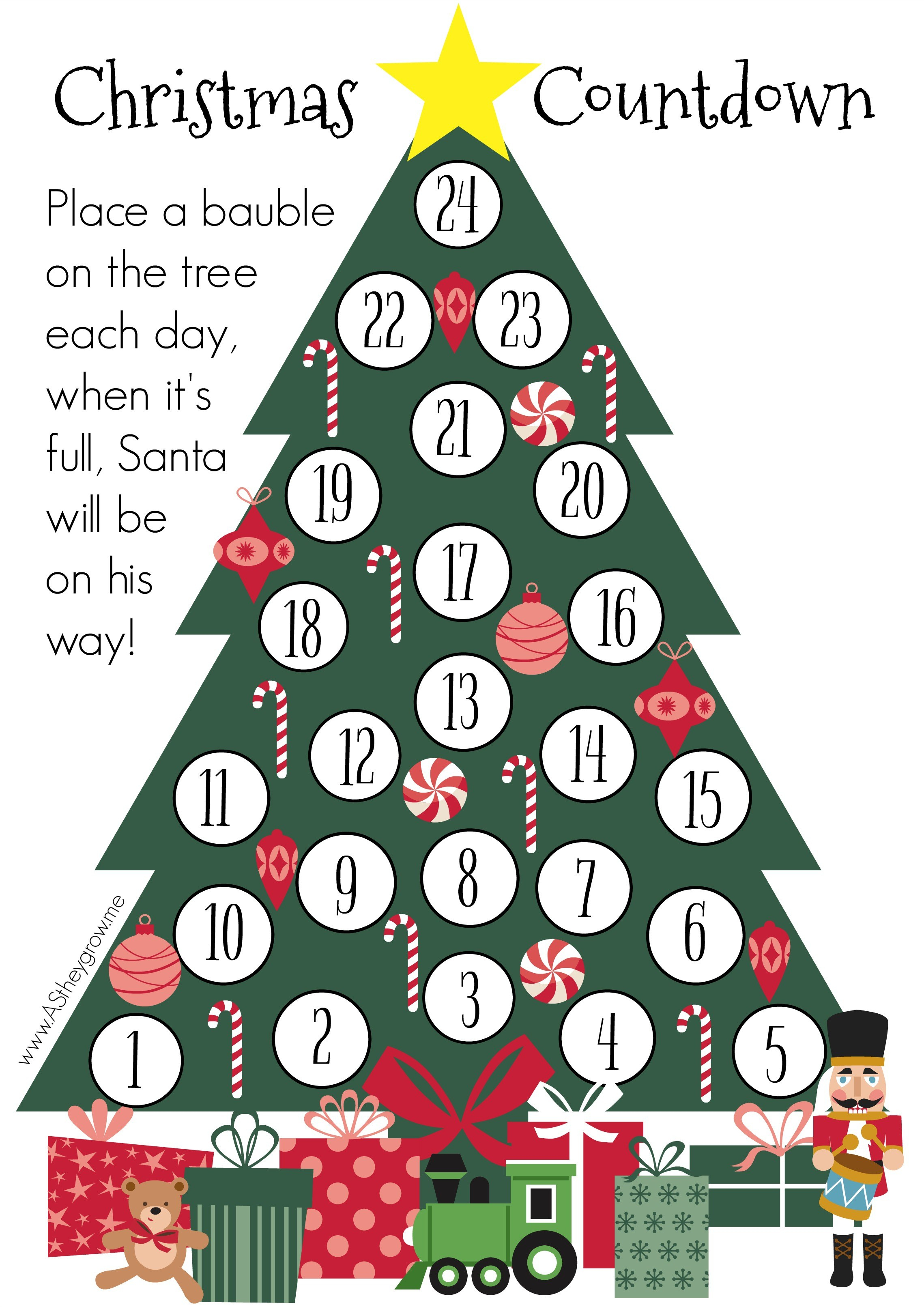Crafty Christmas Countdown – Free Printable – As They Grow - Christmas Countdown Free Printable