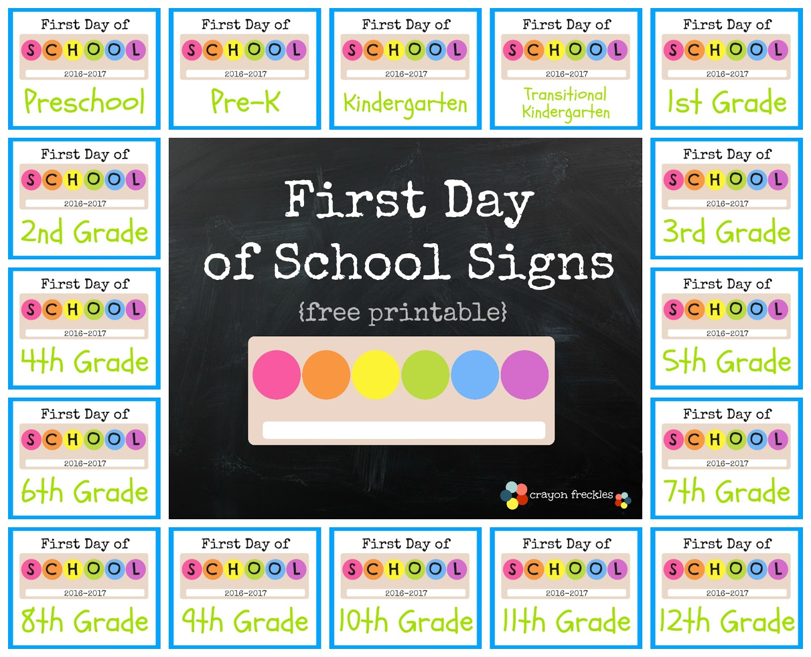 Crayon Freckles: First Day Of School Signs {Free Printable} - Free Printable First Day Of School Signs