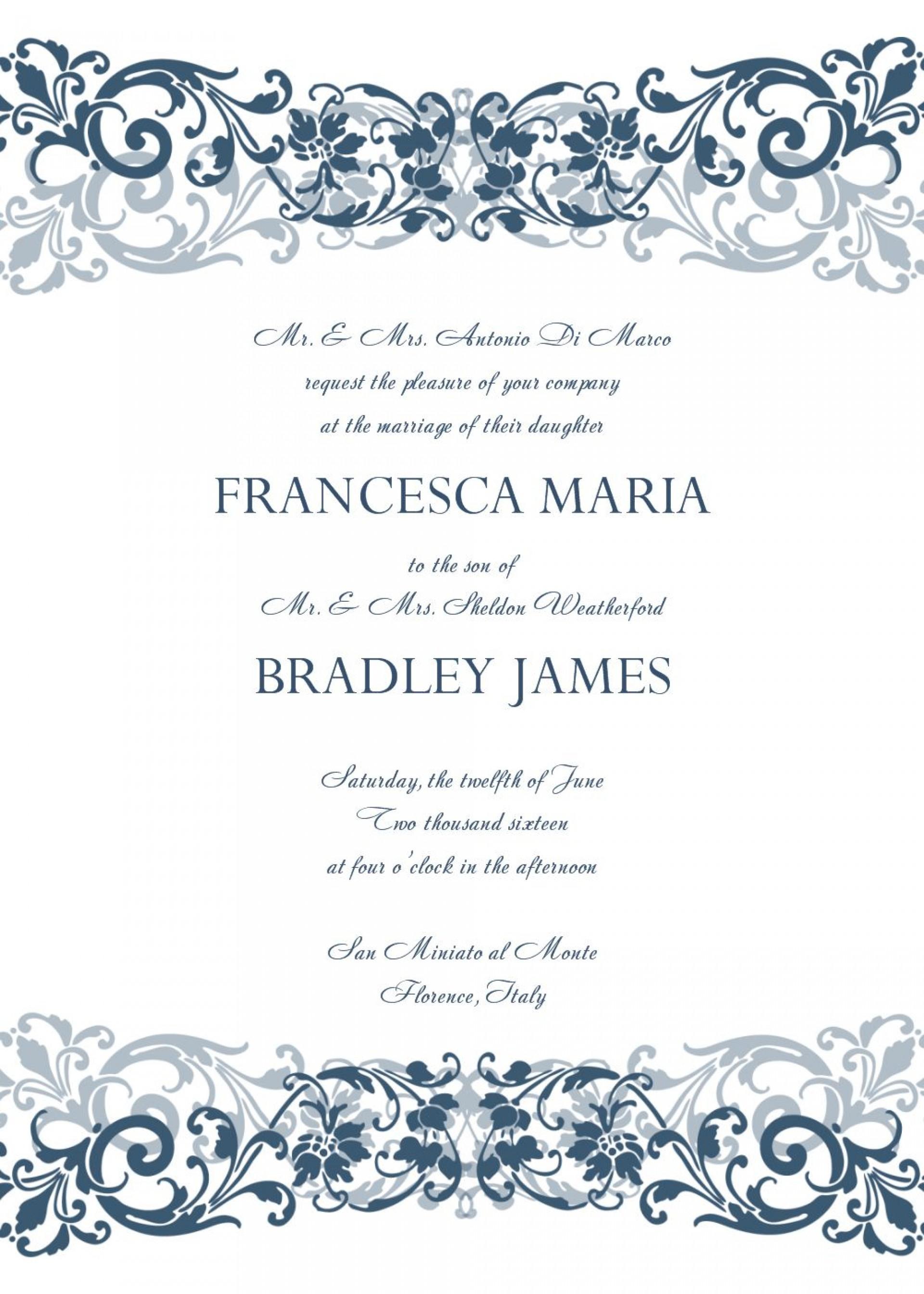 Creating Personalitations Using Microsoft Word Choosingitation - Free Printable Wedding Invitation Templates For Microsoft Word