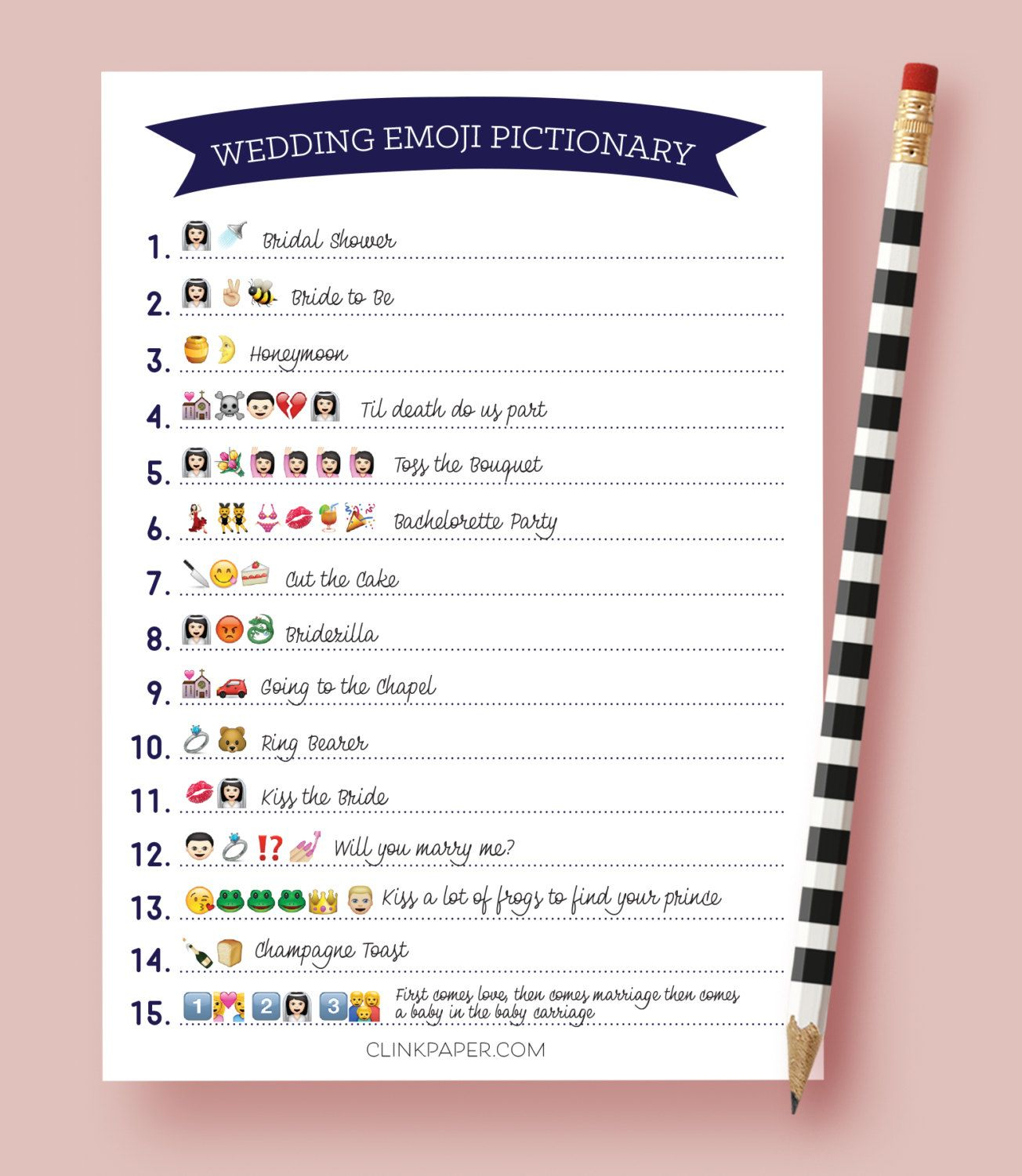Creative Bridal Shower Games 42 | Wedding Things To Keep In 2019 - Wedding Emoji Pictionary Free Printable