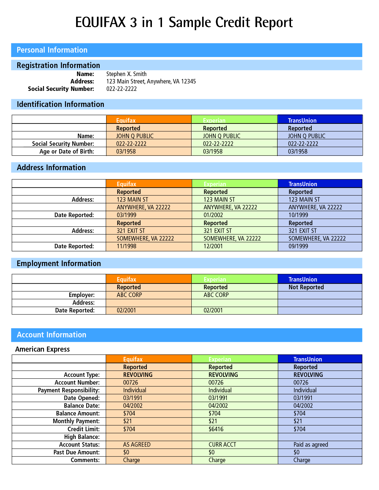 Credit Report: Sample Equifax Credit Report Pdf - Credit Report - Free Printable Credit Report
