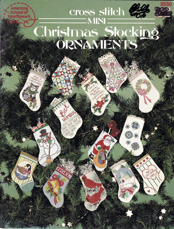 Cross Stitch Mini Christmas Stocking Ornaments, 30 Mini Christmas - Free Printable Cross Stitch Christmas Stocking Patterns