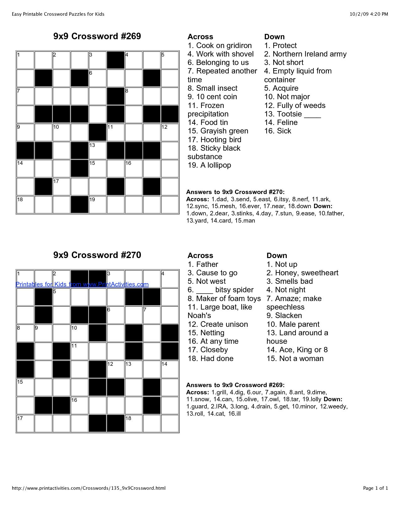 Crossword Puzzle Maker Game Crosswords Free Easy Printable Puzzles - Free Printable Variety Puzzles