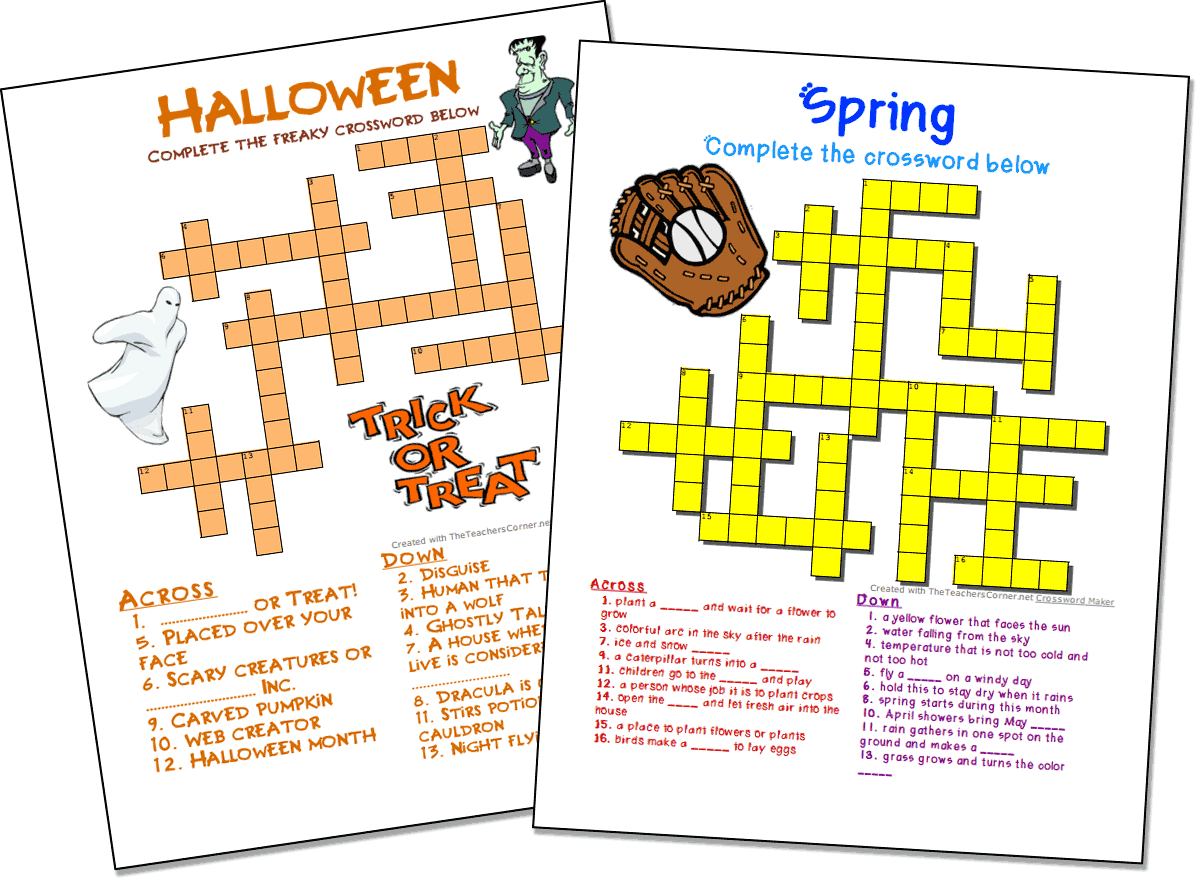 Crossword Puzzle Maker | World Famous From The Teacher's Corner - Create A Crossword Puzzle Free Printable