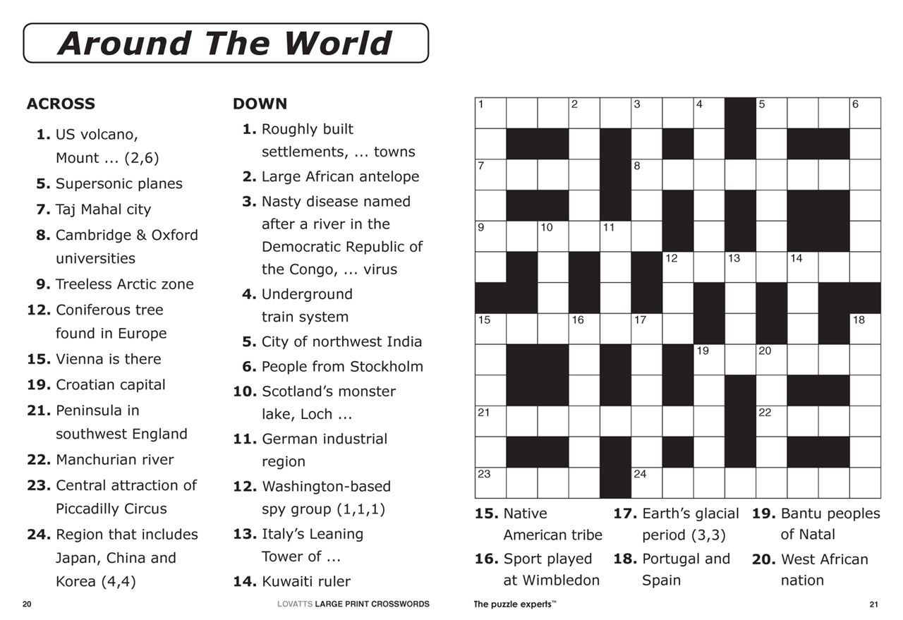 Crossword Puzzle Print Out Crosswords 0002254 Lovatts Large - Free Easy Printable Crossword Puzzles For Adults