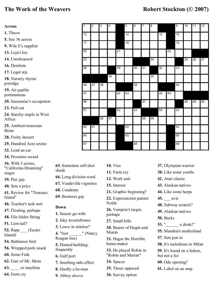 Free Printable Crossword Puzzle Maker With Answer Key