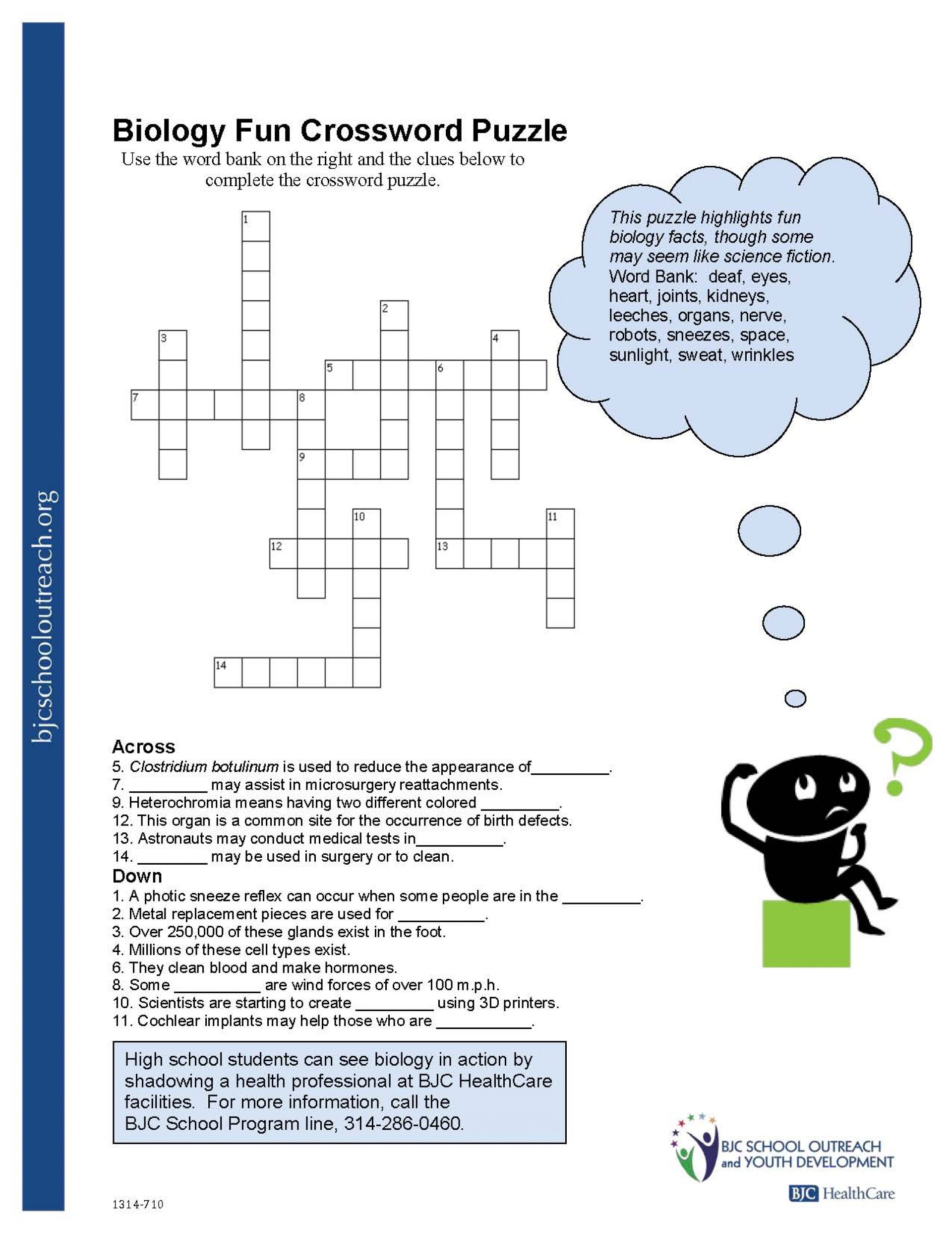 Crosswords Crossword Puzzle Worksheets For Middle School Biology Fun - Free Printable Biology Worksheets For High School
