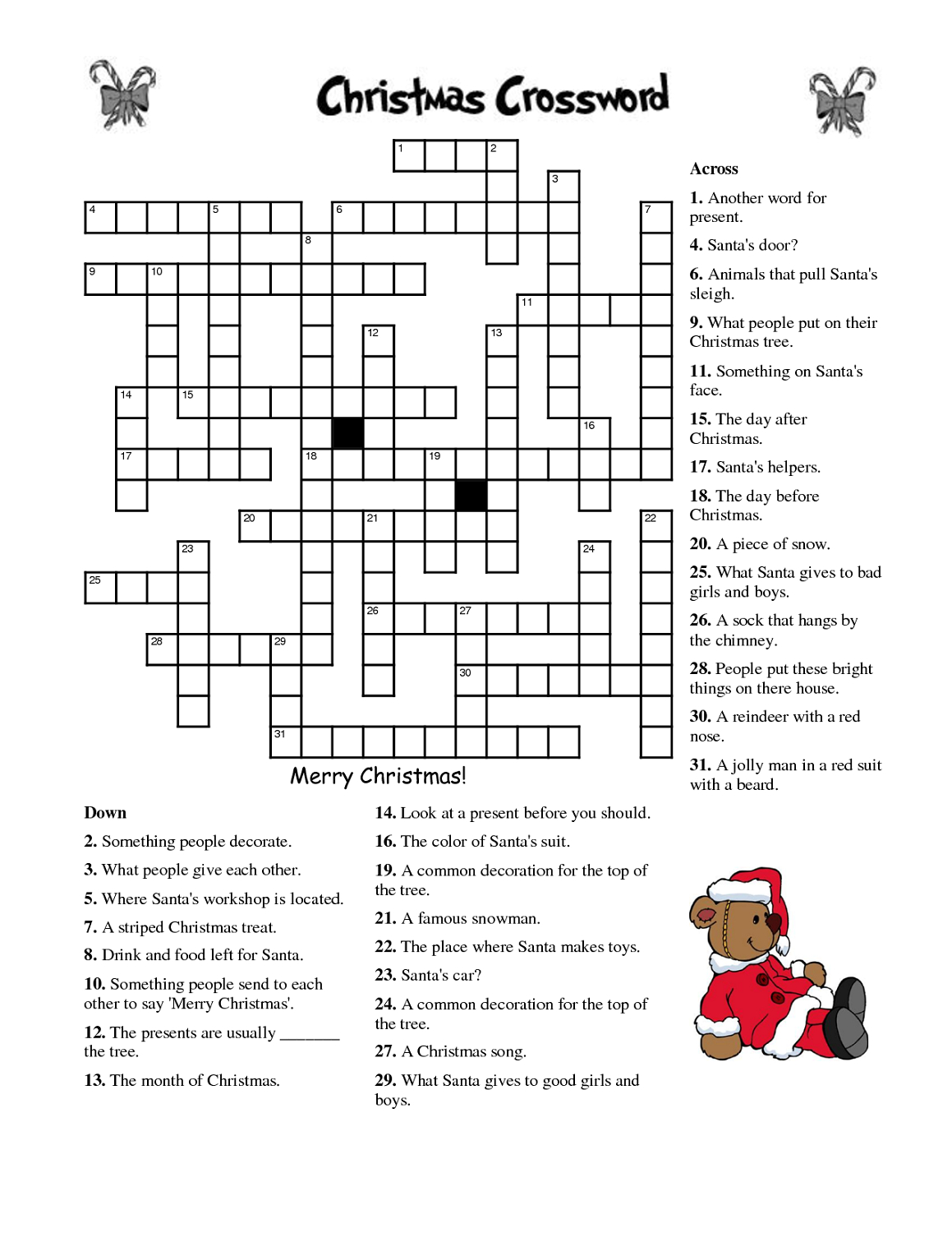 Crosswords For Kids Christmas | K5 Worksheets | Christmas Activity - Free Printable Christmas Puzzle Sheets